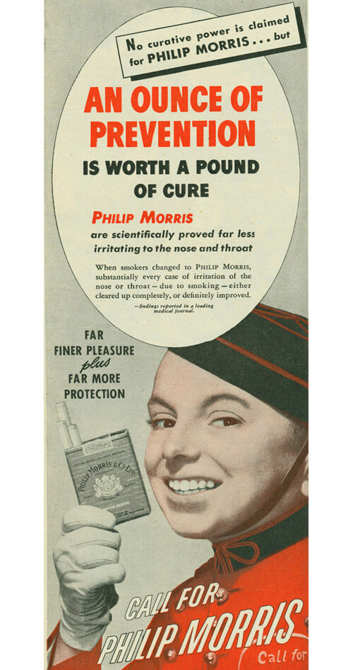 8 Philip Morris Scientifically Proved Far Less Irritating To The Nose And Throat